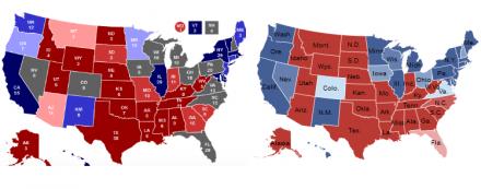 Karten zur Vorhersage: links RCP, rechts 538/NYT